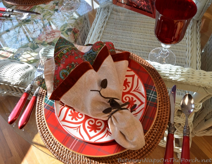 Pottery Barn Tartan Plates in a Valentine's Day Table Setting