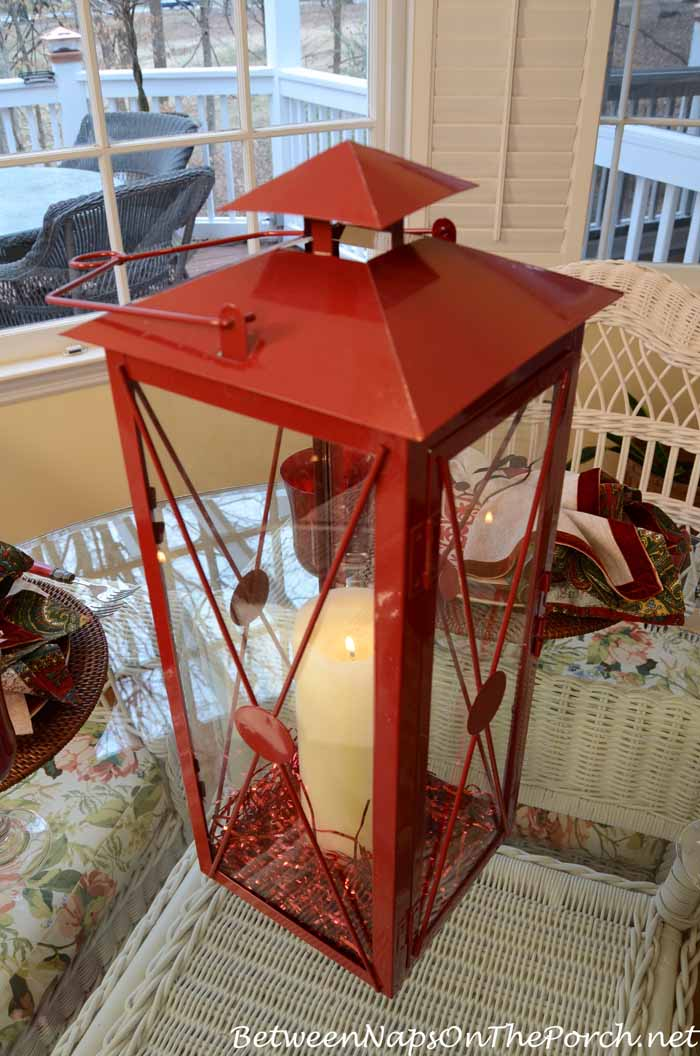 Red Lantern for Valentine's Day Centerpiece Table Setting