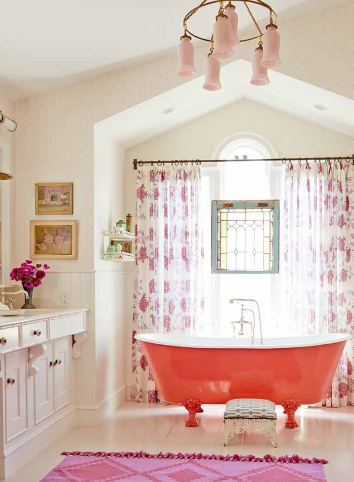 Red Vintage Claw Foot Tub