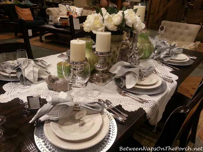 Spring Table in Green, White and Silver