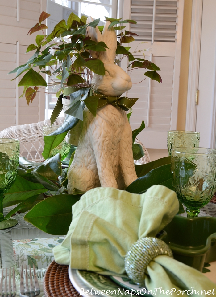 St. Patrick's Day Tablescape with Bunny Shamrock Centerpiece