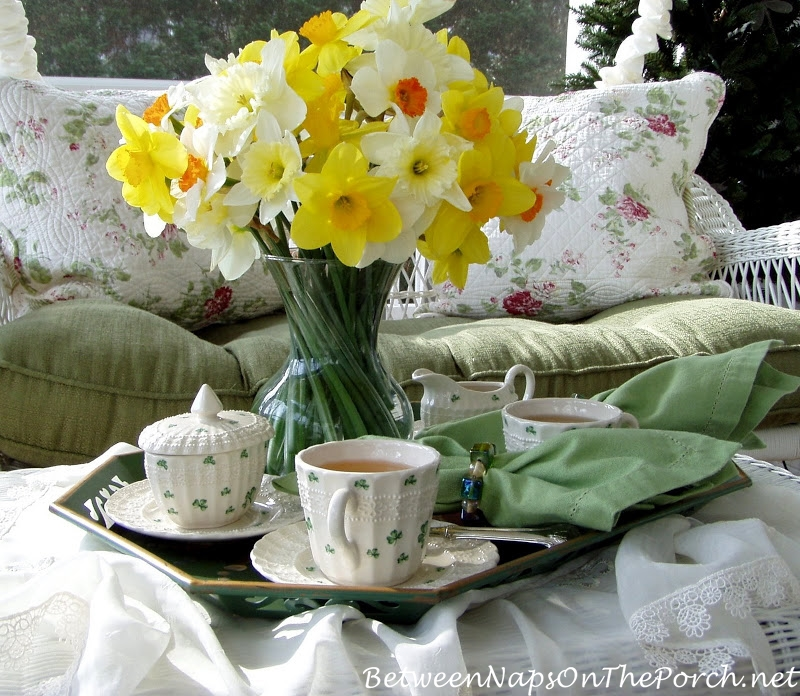 St. Patrick's Day Tea With Daffodils On The Porch