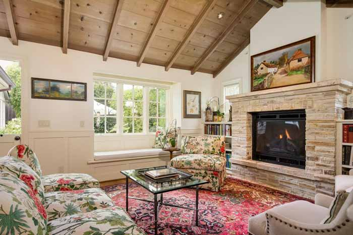 Stone Fireplace in Carmel Cottage