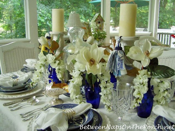 Blue and White Tablescape with Silk Magnolia Blossoms