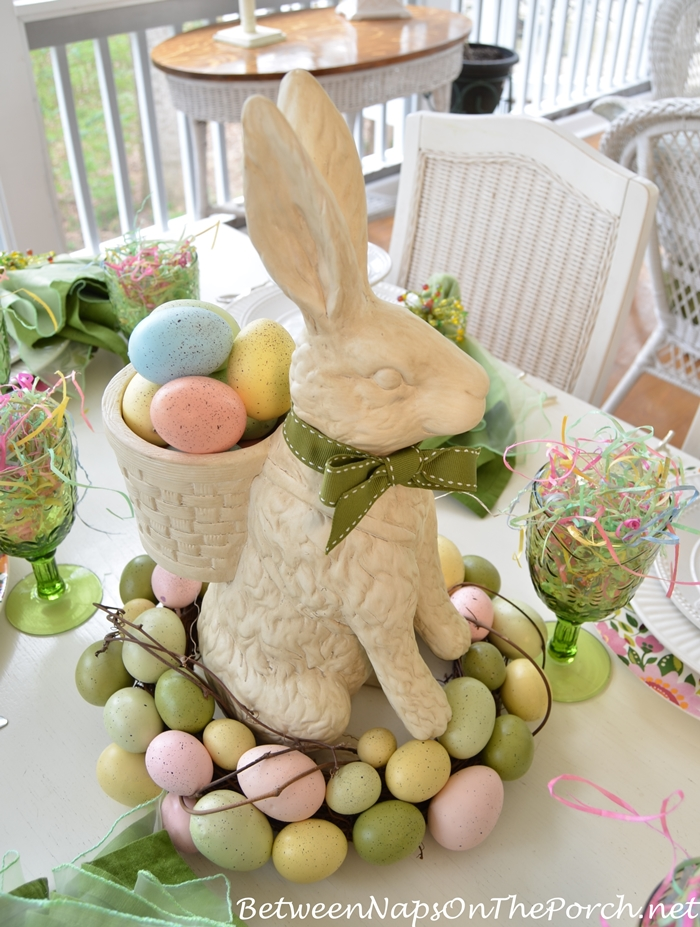 Bunny Centerpiece with Egg Wreath for Easter