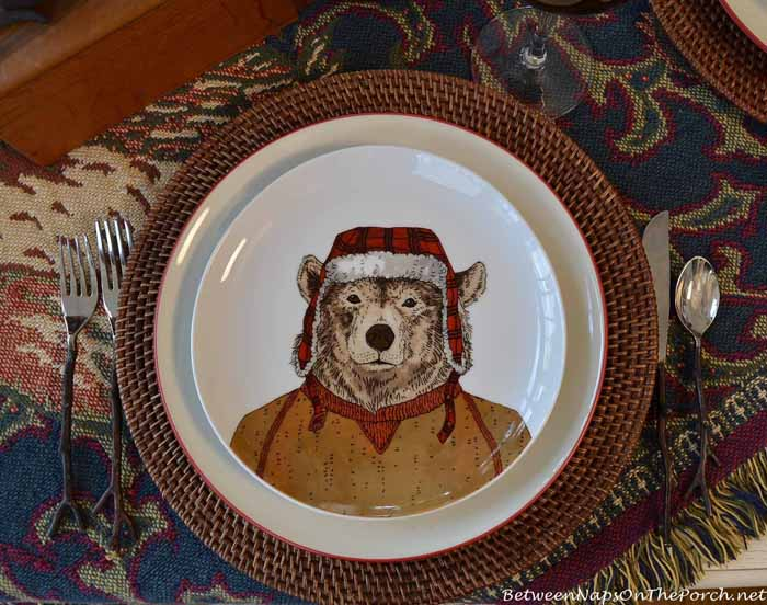Dapper Animal Plates, Bear