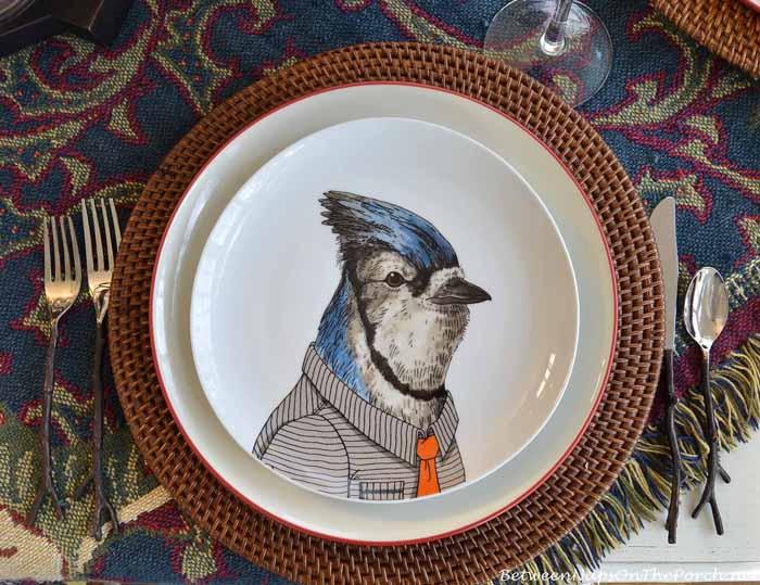 Dapper Animal Plates, Bluejay