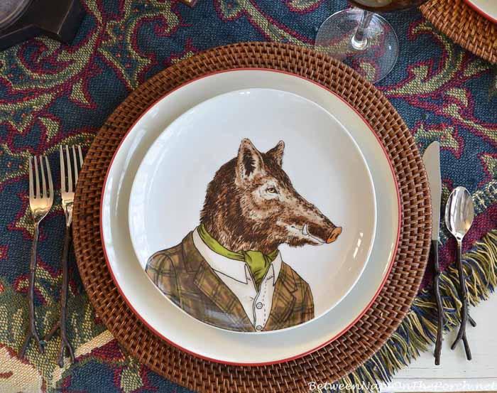 Dapper Animal Plates, Boar