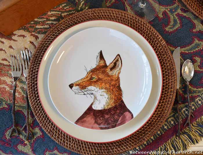 Dapper Animal Plates, Fox