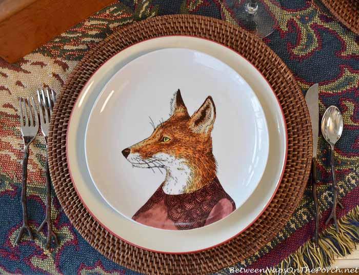 Dapper Animal Plates, Fox