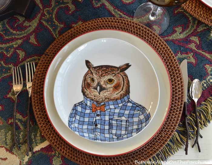 Dapper Animal Plates, Owl