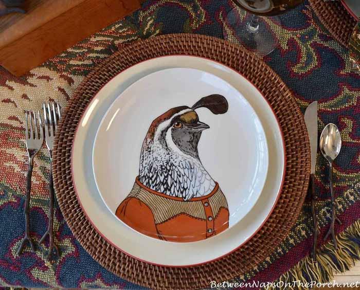 Dapper Animal Plates, Quail