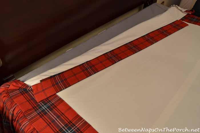 Design a ruffled bedskirt with a long drop