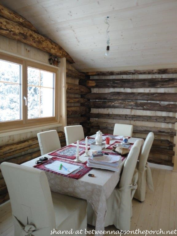 Dining Area in Restored Ski Cabin in Switzerland