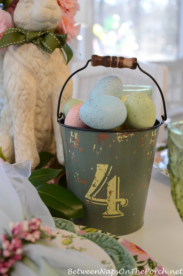 Easter Spring Tablescape with Bunny Centerpiece