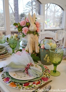 Easter Spring Tablescape with Bunny and Camellia Centerpiece