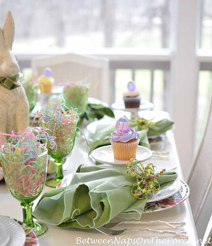 Easter Tablescape with Bunny Wreath Centerpiece