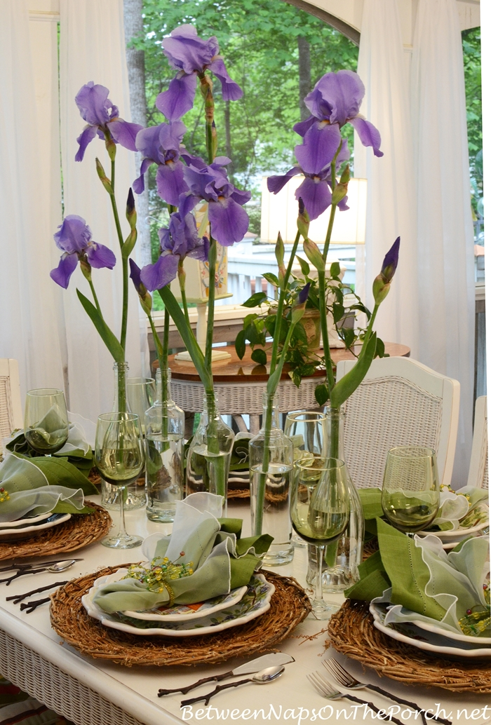 Iris Centerpiece for Spring Table Setting