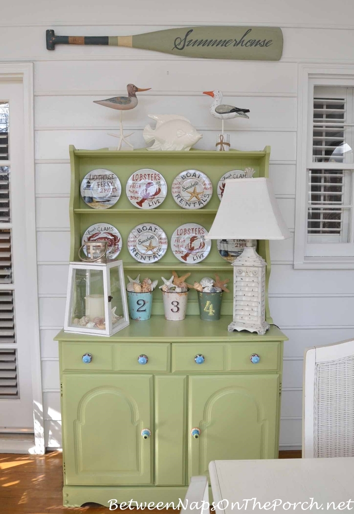 Porch Hutch Decorated for Summer