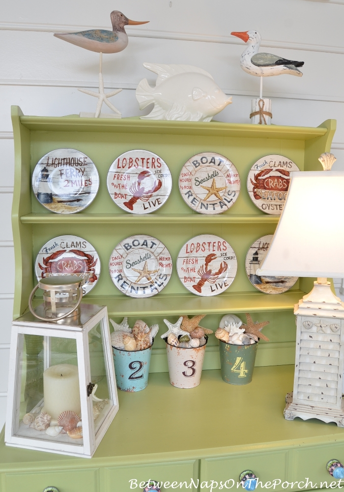 Porch Hutch Decorated with Nautical Theme Plates