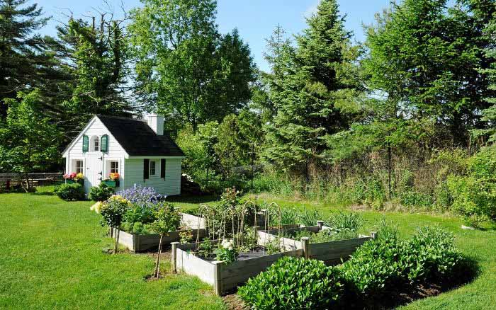 Raised Garden Beds and Adorable Playhouse