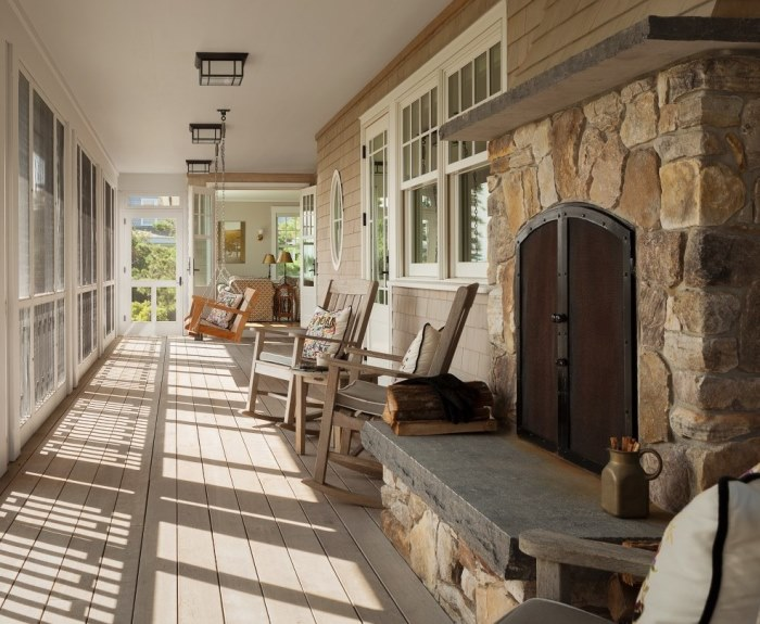 Screened Porch with Stone Fireplace