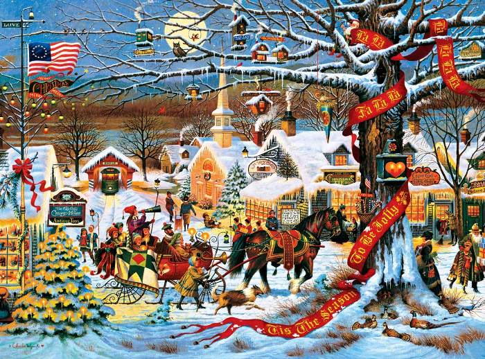 Small Town Christmas Painting by Charles Wysocki