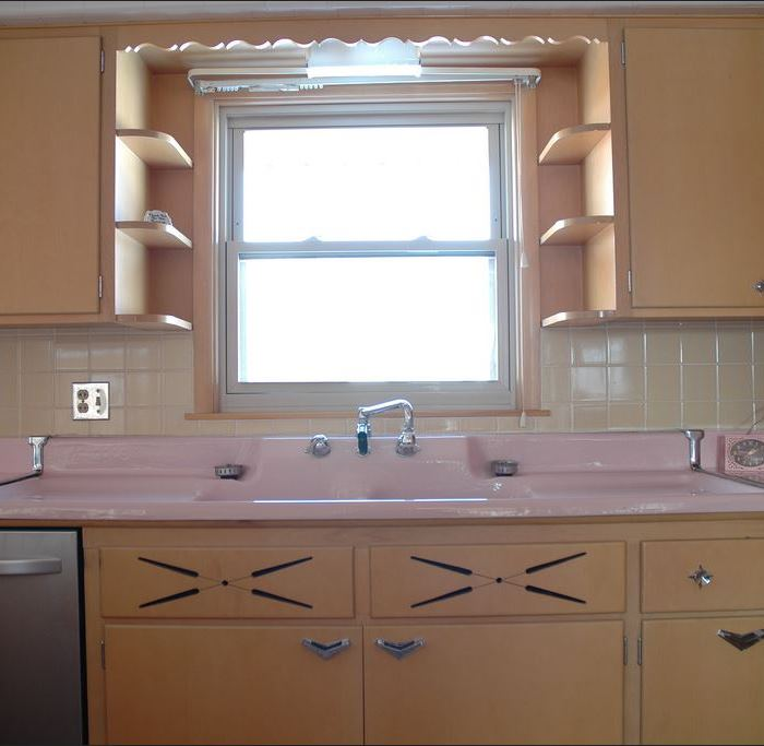 Cool  Kitchen With Pink Porcelain Sink and Pink Countertops