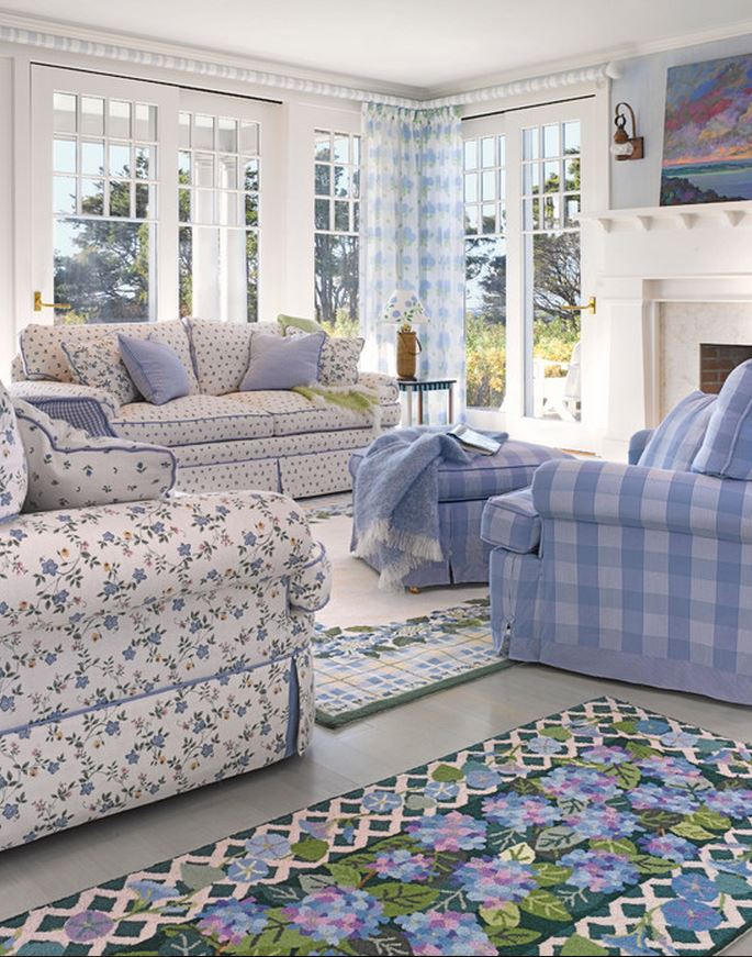 Light Blue Cottage Living Room