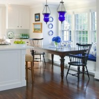 Blue Lanterns in Blue and White Kitchen