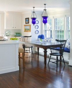 Blue Lanterns in Blue and White Kitchen