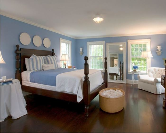 Blue and White Bedroom Beach House Decor