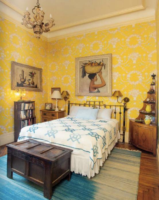 Lauren Bacall's New York Manhattan Home, Yellow Bedroom
