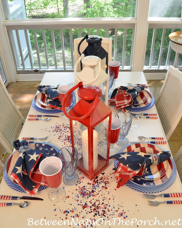 Patriotic Tablescape With Red, White and Blue Dishes and Flatware