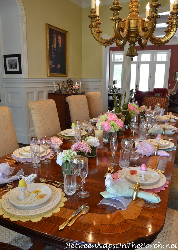 Celebrate spring with a floral bunny table setting for Easter dinner table decorating ideas