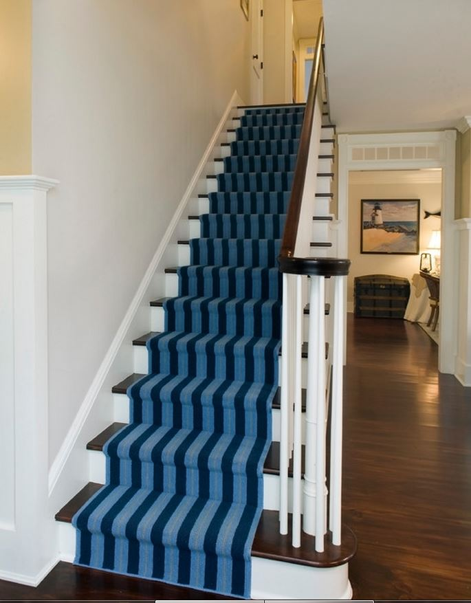 Striped Stair Runner for Beach Home