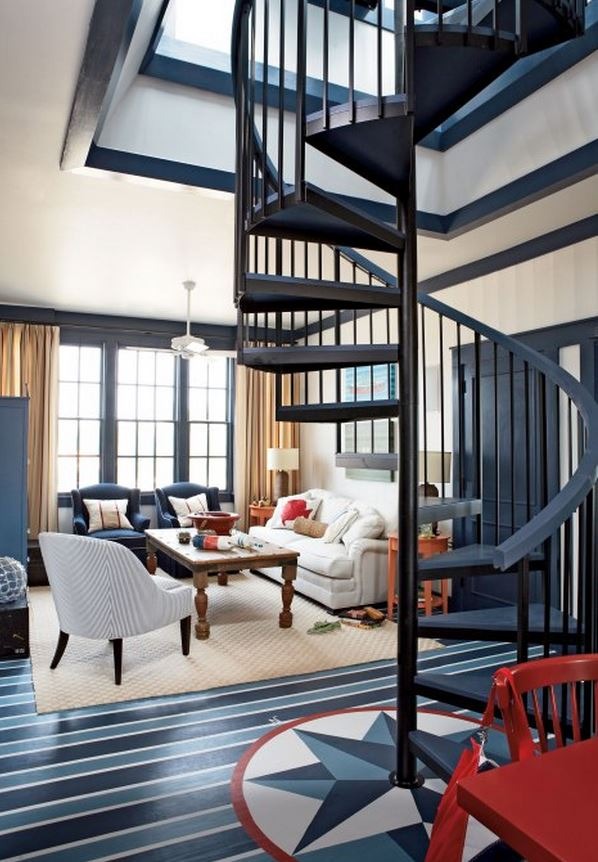 Beach House Design in Navy, Red and White, Staircase to Roof and Crow's Nest
