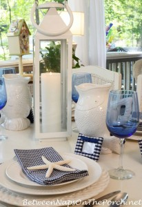 Blue and White Nautical Beach Tablescape