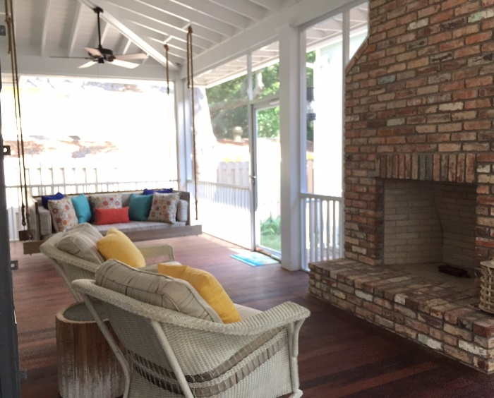 Brick Fireplace For Screened Porch
