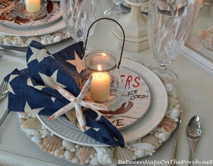 Candlelit Nautical Table Setting