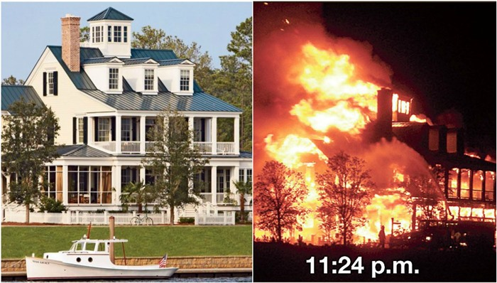 Captain's House Before and After Fire