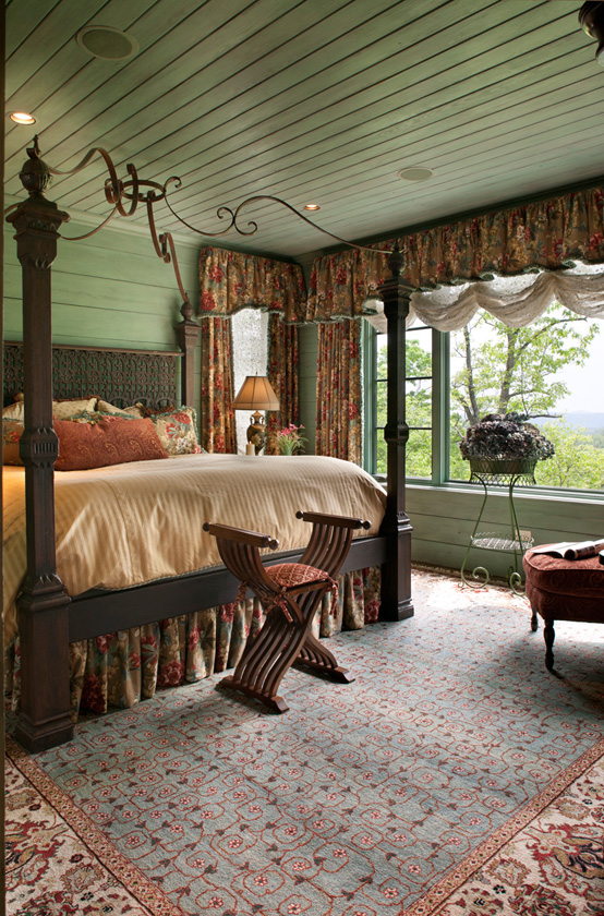 Cottage Lake Home Bedroom with Green Paneling