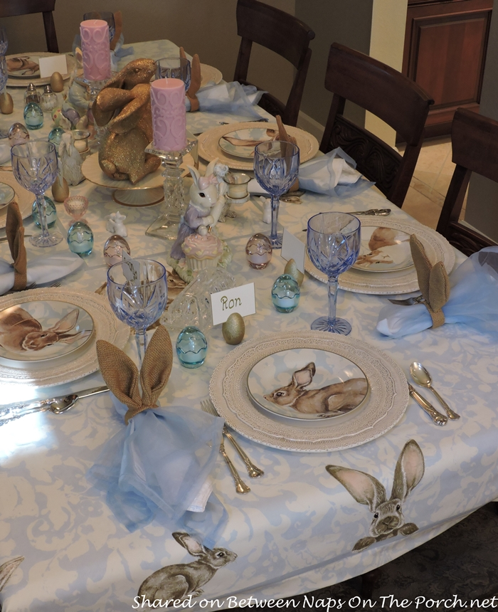 Easter Spring Table Williams Sonoma Damask Bunny Plates