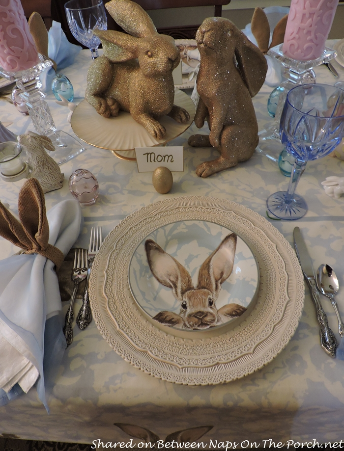 Easter Spring Table With Williams Sonoma Damask Bunny Plates 1