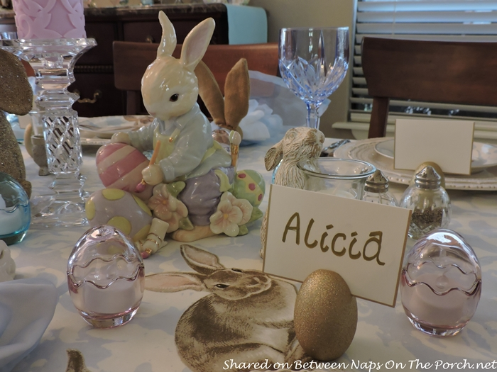 Easter Spring Table With Williams Sonoma Damask Bunny Plates 11