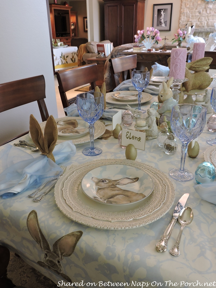 Easter Spring Table With Williams Sonoma Damask Bunny Plates 12