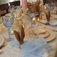 Spring Tablescape With Williams Sonoma Damask Bunny