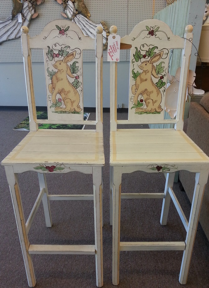 Hand Painted Bunny Bar Stools