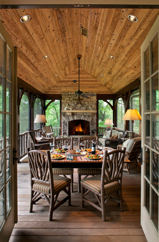 Cozy lake house with a fabulous screened porch for Screened in porch fireplace ideas