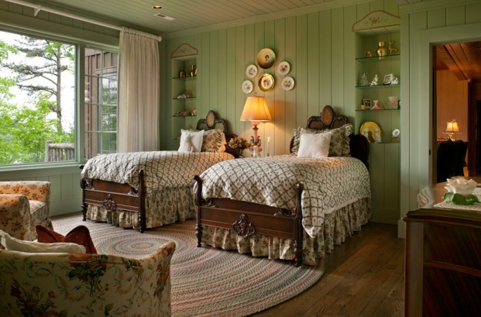 Lake House Bedroom with Green Paneling
